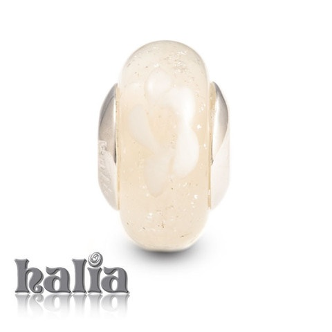First Snowfall: Understated shades of ivory and cream: murano glass bead on a sterling silver barrel: designed exclusively by Halia, this bead fits other popular bead-style charm bracelets as well. Sterling silver, hypo-allergenic and nickel free.     $36.00