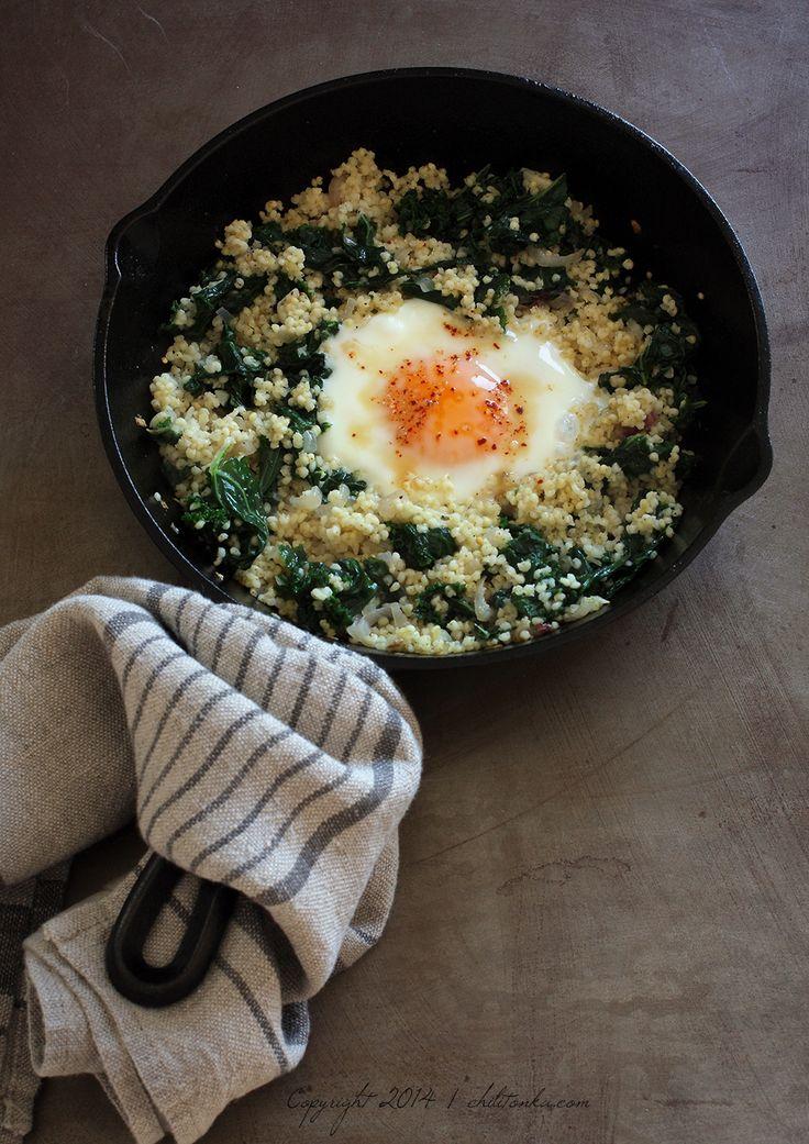 Jarmuż z jaglaną i jajem | chilitonka
