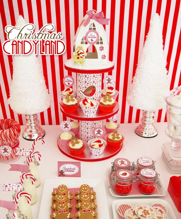 Traditional Christmas Party Ideas Part - 22: Peppermint Christmas Red U0026 White Party Ideas - Ideas On DIY Decorations,  Food, Printabels And Ornaments For A Traditional Christmas Celebration!