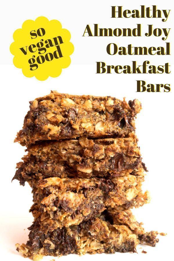 Vegan Healthy Almond Joy Oatmeal Breakfast Bars #vegan #breakfast #healthy #vega…