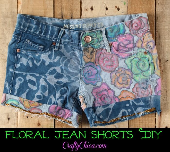 Floral Jean Shorts DIY | CraftyChica.com | Sparkly, artful inspirations by artist and author, Kathy Cano-Murillo.