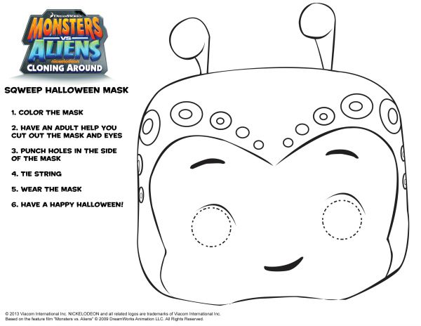 monsters vs aliens sqweep mask printable craft