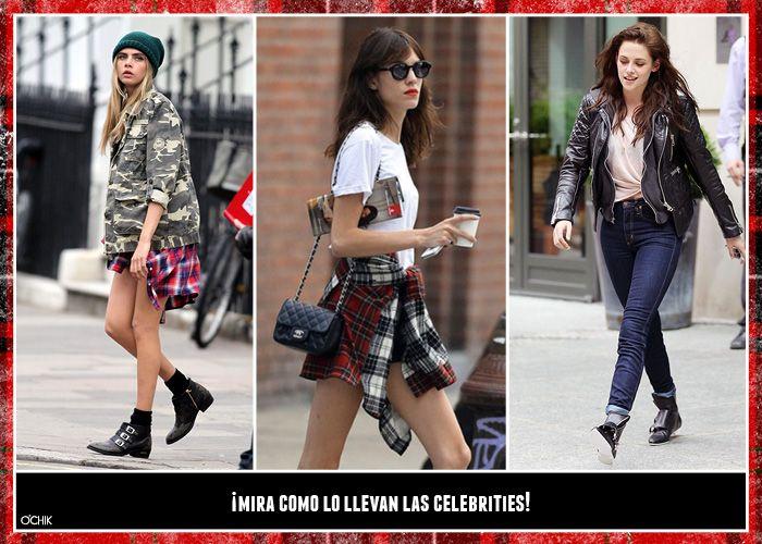 Kristen Stewart, Cara Delevingne y Alexa Chung se unen al estilo grunge.  Tartan+camuflaje+perfecto. The grunge is back! www.ochik.com/blog