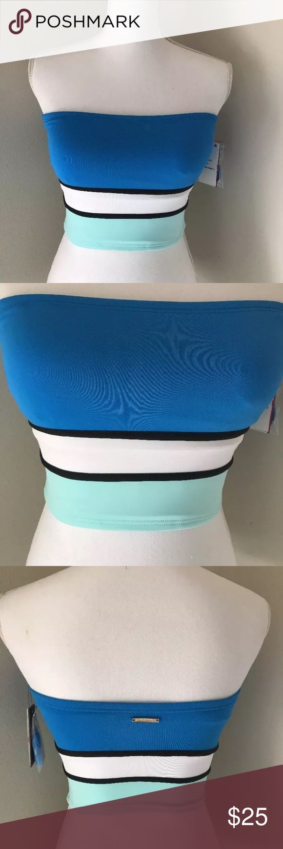 NWT Vince Camuto Bandeau Crop Top Swimsuit Blue New with tags Vince Camuto color block bandeau style bathing suit top with a built in bra and a removable strap size x-small. This bathing suit top would pair perfectly with white or black bottoms. Retails for $62.00. Vince Camuto Swim Bikinis