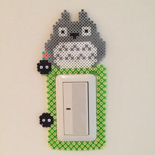 Totoro light switch frame perler beads by Pink's shop