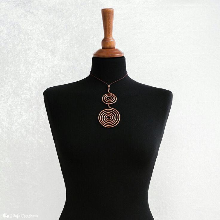 Two spirals copper wire pendant