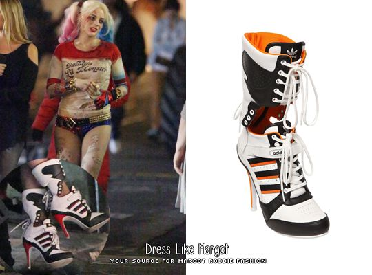 Where: Filming Suicide Squad as Harley Quinn in Toronto When: May 2015  What: ADIDAS By Jeremy Scott Js High Heel Leather Boots Worn with: Kesha  Rose Spiked ...