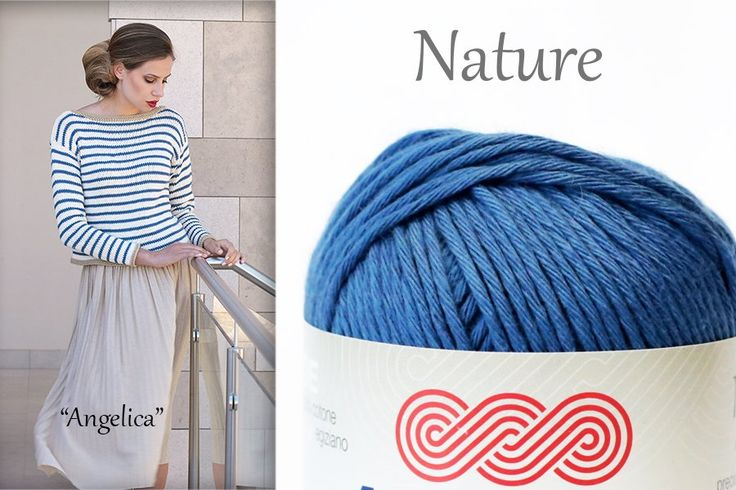 Do you like the new aviation blue col. 62 of #Nature #Adriafil yarn? Super Trendy!   Pattern Angelica on #Ravelry: http://bit.ly/AdriafilAngelicaPullover_Nature …