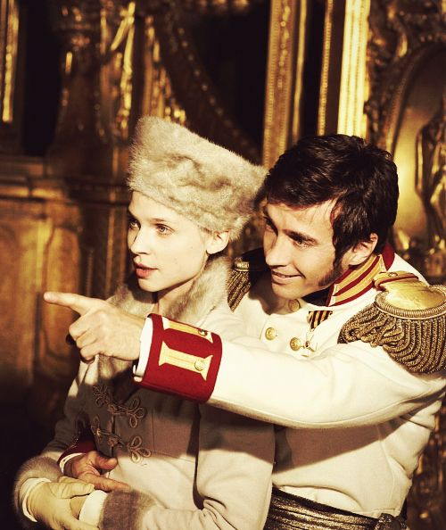 Clémence Poésy as Natasha and Alessio Boni as Prince Andrej in War in Peace, St. Petersburg.