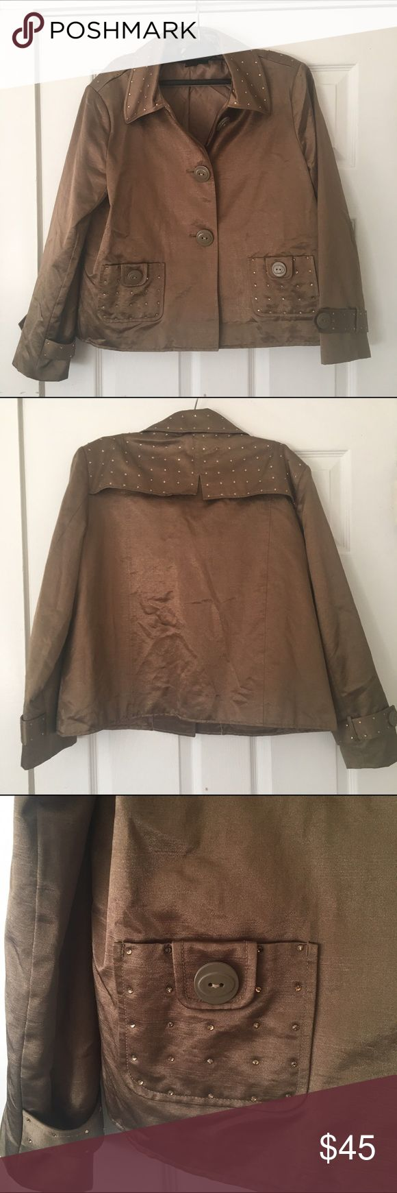 Christine Alexander Swarovski element jacket Christine Alexander Swarovski element crystal embroidered jacket size medium. More of an olive/army green type color than looks in photo. Christine Alexander  Jackets & Coats