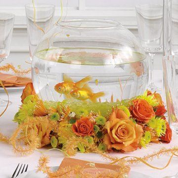 Fish bowl & florals.  Nice idea.  What events would you use this setting for?