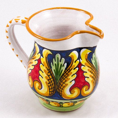 Miscellaneous: #Italy. Milk Jug from #Sicily. Four Yellow Tulips. #Caltagirone #Ceramics. Hand Made. Volume 0.25L
