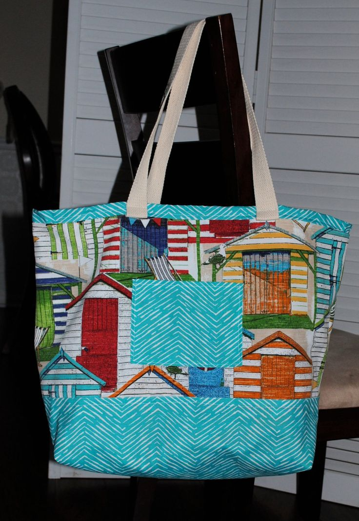 Large Beach Bag, Extra Large Tote Bag, Reversible Beach Bag, Two pockets beach bag, lined beach bag, Pool Bag, Vacation Bag, Extra Large…