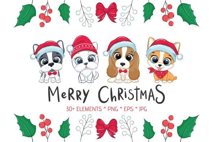 Christmas Dog Clipart Png Eps Jpeg 300 Dpi 937267 Illustrations Design Bundles Clip Art Christmas Arts And Crafts Postcards Diy