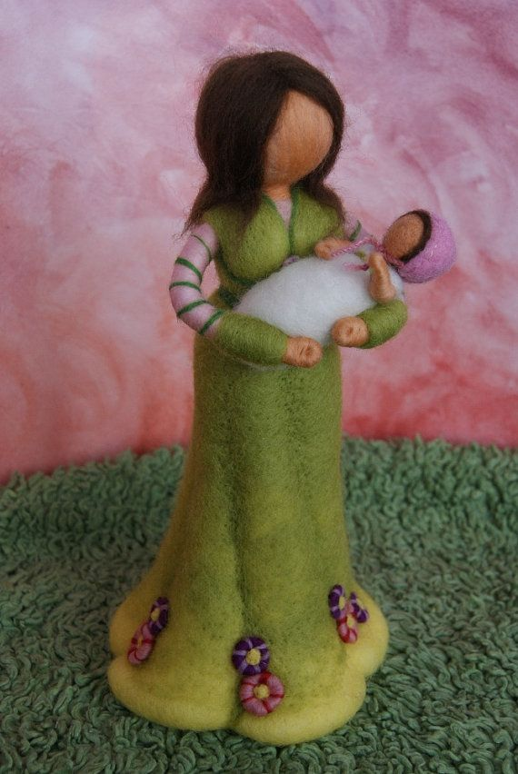 Mother with baby personalized gift felted by byNaturechild