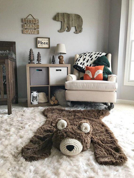 Nursery Rug Bear Woodland Baby Room Decor
