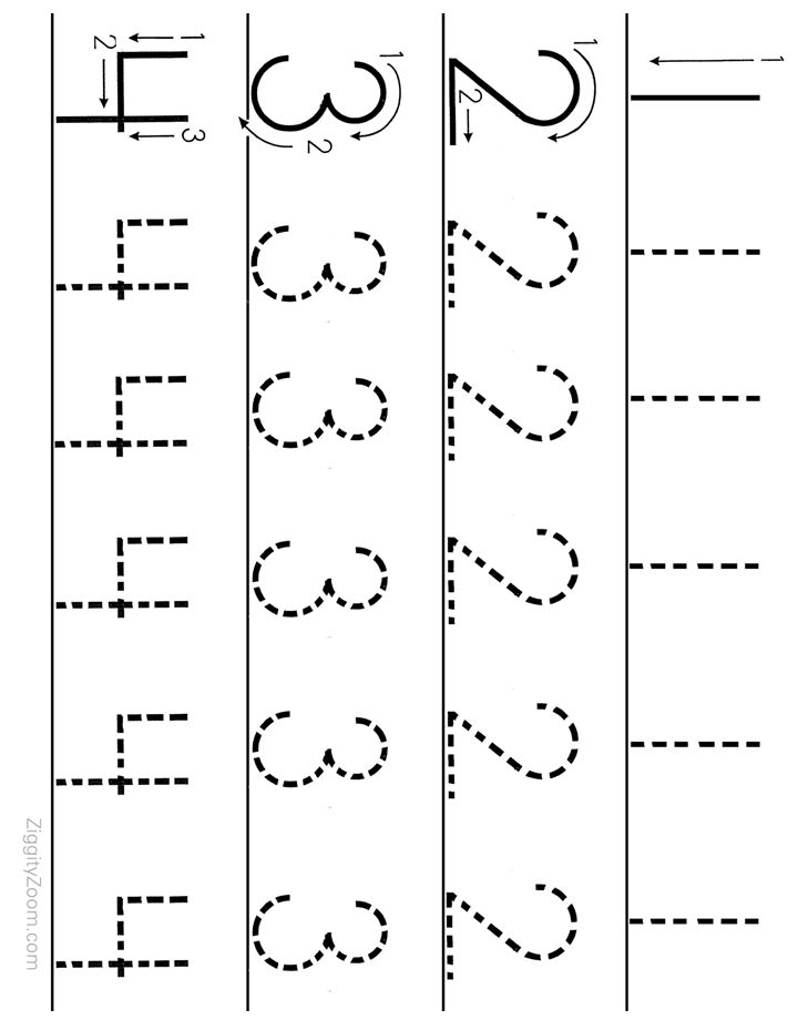 number tracing worksheet numbers 1 to 4 worksheets for preschoolers printable