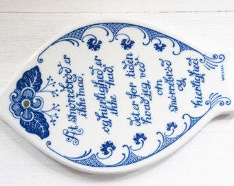 Beautiful Porsgrund Norway trivet / wall plaque with poem - Mid Century Design