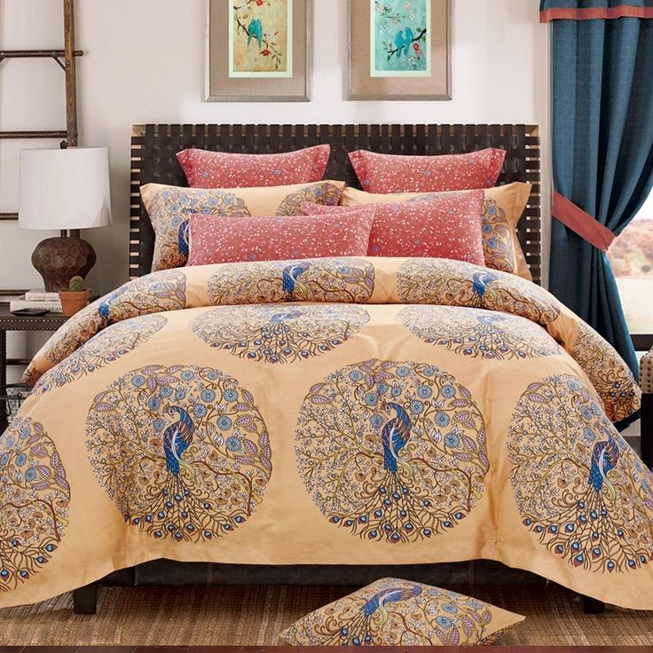 Peacock Blue Cream And Salmon Peacock Print Vintage Bohemian Chic  Southwestern Style Brushed Cotton Full, Queen Size Bedding Sets.Really  Niceeeeeeeee