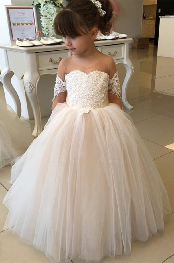 e9a584731faaf vintage pearl pink tulle ball gown flower girl dresses, long sleeves wedding  party dress with appliques, cute dress for little girl