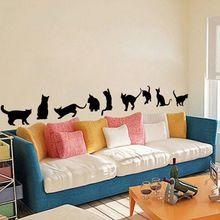 TOP Grand cute kotów gry naklejki ścienne dekoracja pokoju 3d diy mural art vinyl naklejki adesivos de paredes dom zwierzęta plakat(China (Mainland))