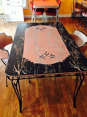 Black And Pink Formica Table