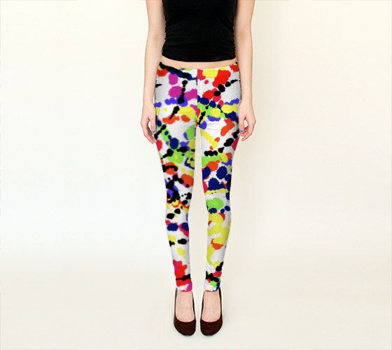 "House of Birdie ""Kaleidoscope Toss"" printed leggings and capri by HOUSE OF BIRDIE - yoga leggings, workout leggings, yoga tights, running leggings, running tights."