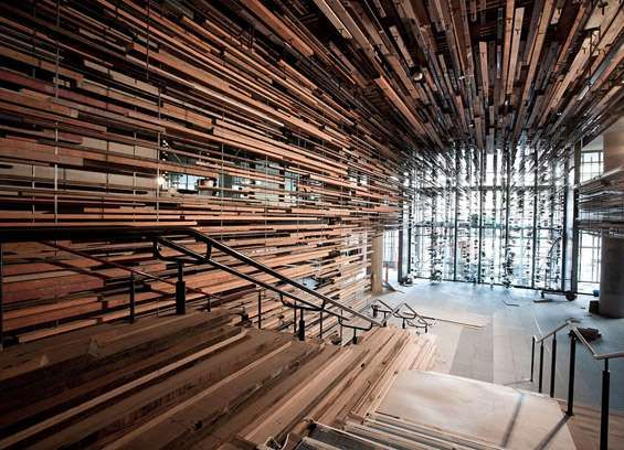 """Combining Japanese architectural influence with a concern and skill for using reclaimed materials, Australian firmMarch Studiodecided to make a statement to the entryway staircase to theNishi buildingin Canberra, Australia.Already being called """"Australia's most radically sustainable mixed"""