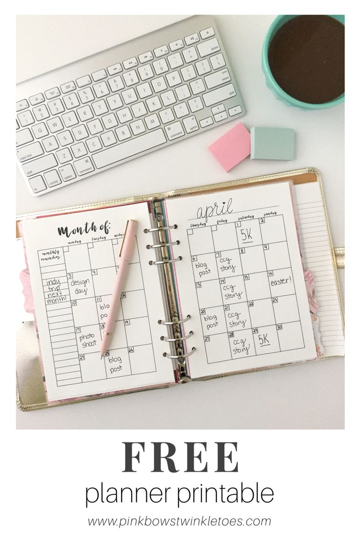 Monthly Calendar Notebook : Monthly calendar free printable planner insert