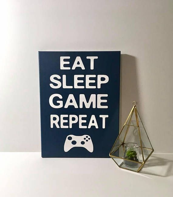 Painted Canvas Sign – video game art – eat sleep game