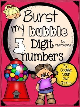 ~ 3 digit Addition and Subtraction Activities fun~-These worksheets are perfect for centers, quick activities for your unit, easy grades, and small group extra practice for your students-Fun themes and questioning for engagement!-Picture form and place value block worksheets as an intro for assessment with students or a simple review for place value- Bubble gum riddle page for place value check - Addition and Subtraction worksheets with matching and cut
