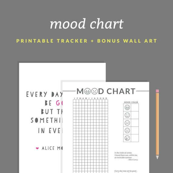 Printable Mood Chart A Year in Pixels Printable BONUS