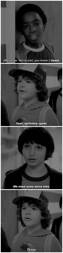 Boys? Assembly's about to start. #stranger things #1x04 #mike wheeler #lucas sinclair #dustin henderson