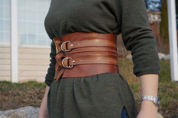 Gladiator Belt Brown Leather Belt Kidney Belt Wide by TandTLeather