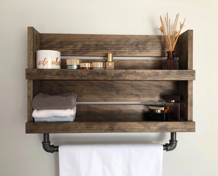 Bathroom shelf with pipe towel bar Rustic Industrial Lake house Barn Bathroom Vi…   – Farmhouse