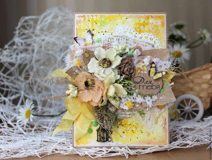 """Купить Открытка """"Для тебя"""" - Скрапбукинг, скрапбукинг открытки, открытки, открытка на день рождения"""
