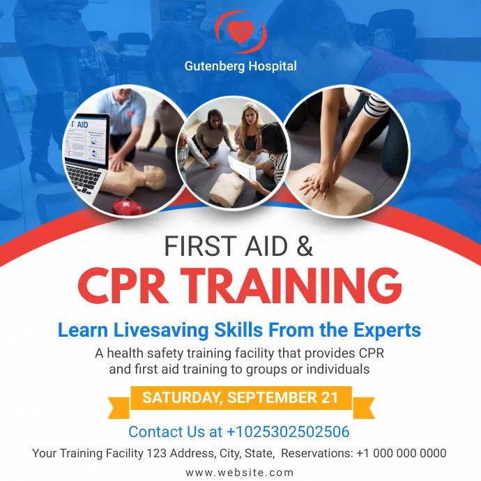 First Aid And Cpr Training Service Ad In 2021 Cpr Training Cpr Classes Social Media Schedule