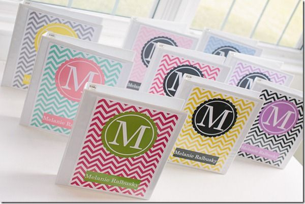 """Monogrammed Binder Covers- obviously the pink and green one with """"M"""" caught my attention!"""