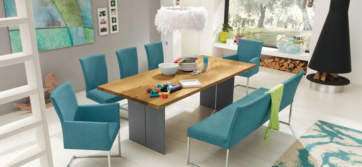 Dining Room Ideas:Turquise Color In The Chair Set Is Good Option 30 Contemporary Dining Rooms