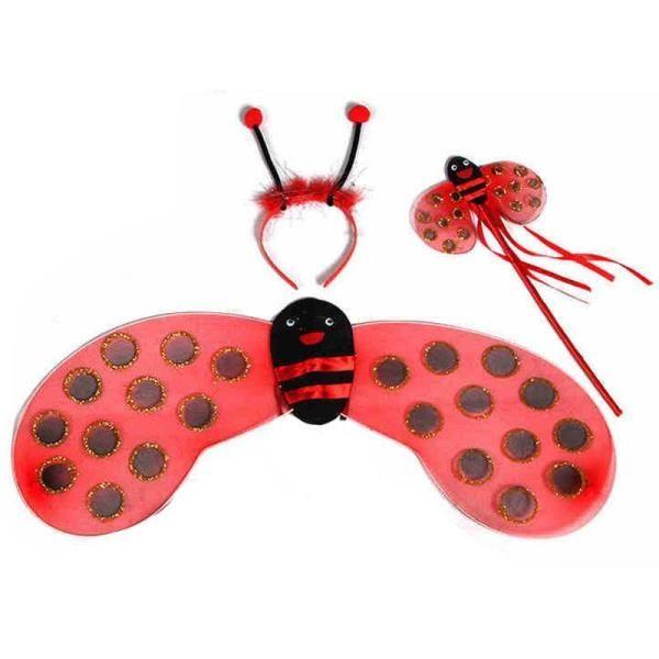 Kırmızı Siyah Benekli Uğur Böceği Kanat Set