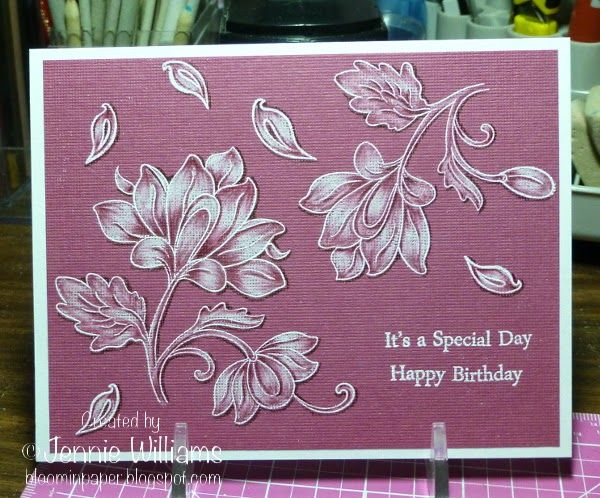 handmade card from Bloomin' Paper: Persian Motifs ... monochromatic mauve ... white stamping .... textured paper ... colored white with tone on tone colors ... luv the results ...
