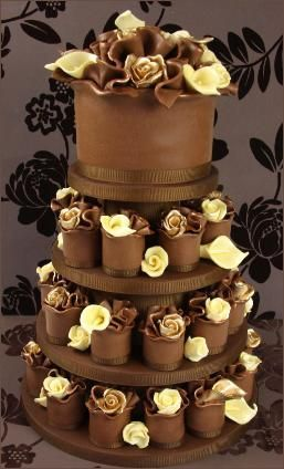 Gold and White Chocolate Rose Miniature Wedding Cakes