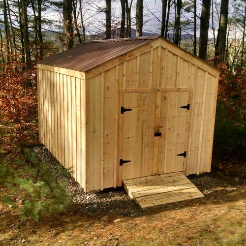 10' x 14' New Yorker. Optional Tudor Brown metal roofing + board & batten siding. Diy plans $9.99. Also available as a kit (estimated assembly time - 1 person, 22 hours), or fully assembled. #gardenshedplans http://jamaicacottageshop.com/shop/new-yorker/ http://jamaicacottageshop.com/wp-content/uploads/pdfs/pdf10x14newyorker.pdf
