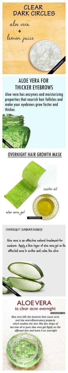 Aloe vera and lemon juice for dark circles