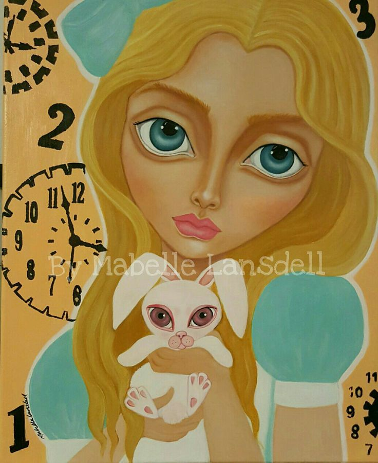 Alice and the white Rabbit ❤ by Artist Mabelle Lansdell