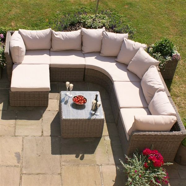 6 Seater Garden Rattan Corner Sofa Set Rounded Aluminum Frame Outdoor Furniture