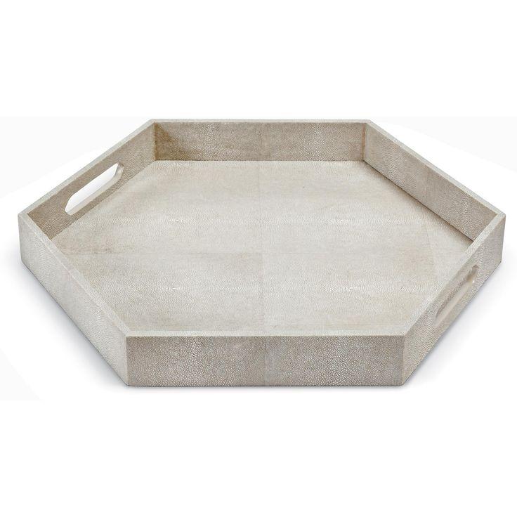 Shagreen Coffee Table Tray: Regina Andrew Design Ivory Grey Shagreen Hex Tray