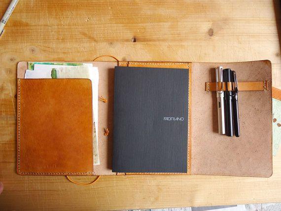 """Cuaderno de dibujo cuaderno viaje de cuero o Portada de revista - el modelo """"Emeli"""""""