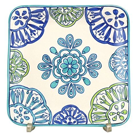 Update your servingware with the colourful design across the handmade Ibiza Daydream Square Plate from Royal Hamam.