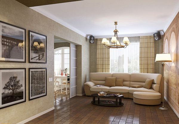 Easy elegant interior designed in the French style in an apartment down the street Lunacharsky in St. Petersburg.